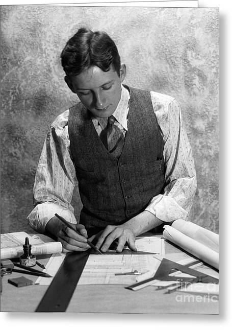 Young Man At Drafting Table, C.1920-30s Greeting Card by H. Armstrong Roberts/ClassicStock