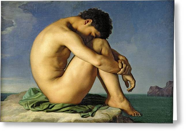 Young Man By The Sea Greeting Card by Jean-Hippolyte Flandrin