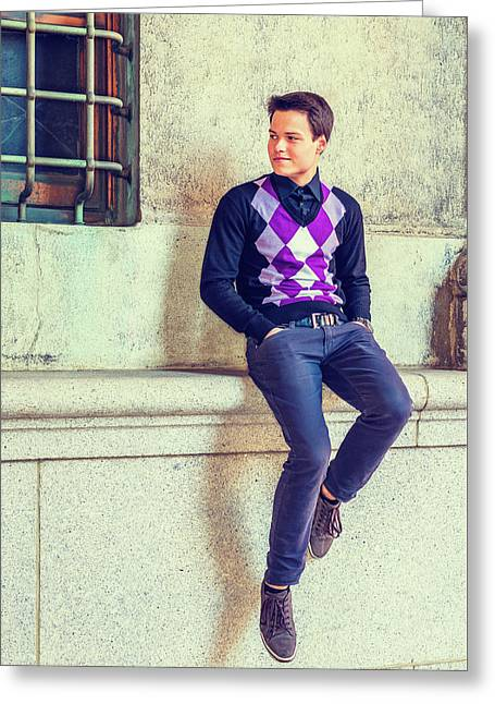 Young Man Casual Fashion In New York 15042517 Greeting Card