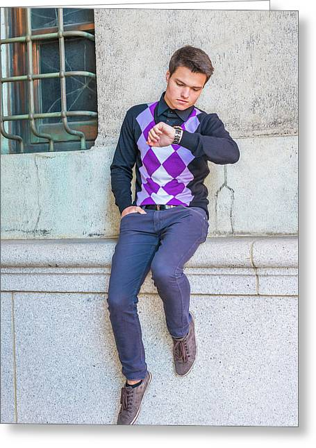 Young Man Casual Fashion In New York 15042518 Greeting Card