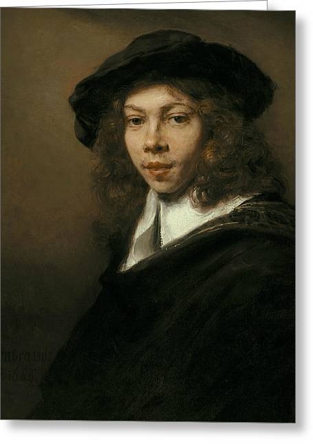 Young Man In A Black Beret Greeting Card by Rembrandt