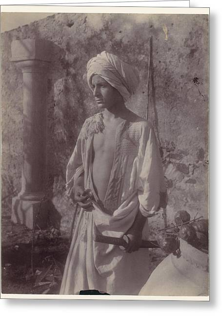 Young Man In White Robe And Head Gear Holding Scabbard Greeting Card by MotionAge Designs