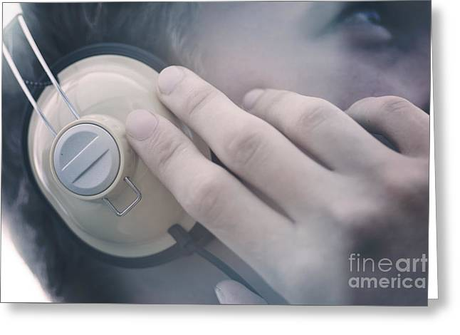 Young Man Listening To Music Headphones Greeting Card