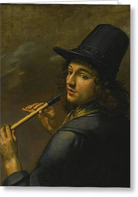 Young Man Playing A Recorder Greeting Card by Celestial Images