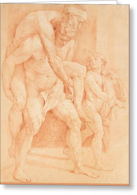 Young Man Saving His Father Greeting Card by Raphael