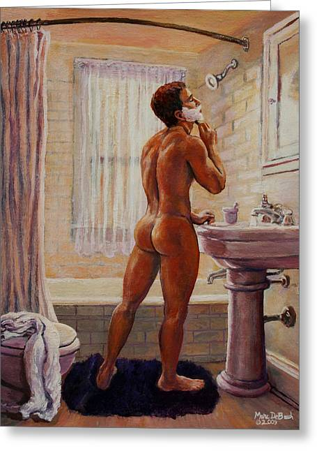 Young Man Shaving Greeting Card