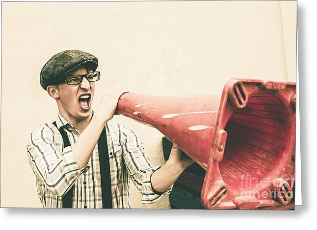 Young Man Shouting With Road Marker Loud Hailer Greeting Card