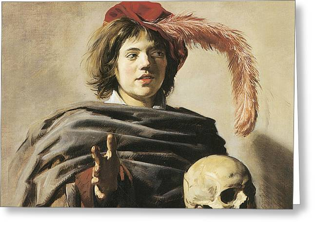 Young Man With A Skull Greeting Card by Frans Hals