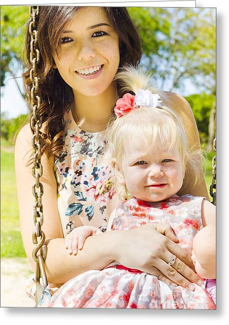 Young Mom With Her Baby Girl On A Swing Outside Greeting Card by Jorgo Photography - Wall Art Gallery
