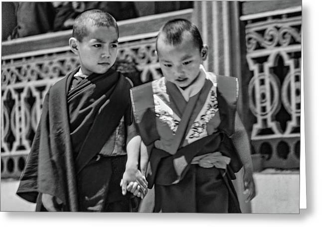 Young Monks - Buddies Bw Greeting Card by Steve Harrington