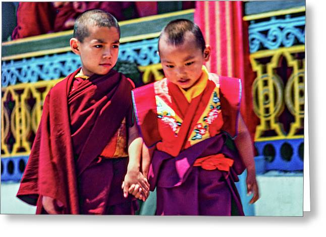 Young Monks - Buddies Greeting Card by Steve Harrington