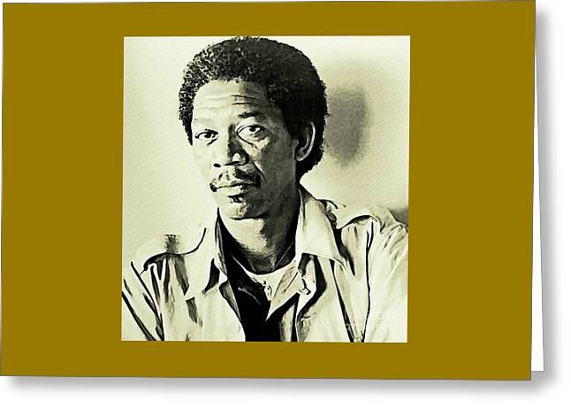 Young Morgan Freeman Greeting Card by John Malone