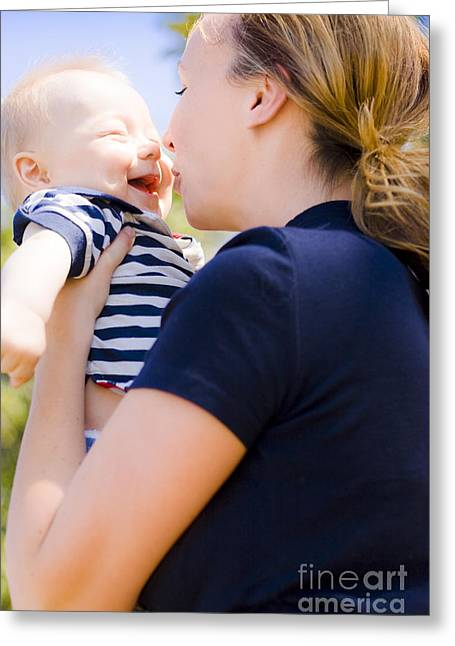 Young Mother Enjoying A Moment With Her Baby Greeting Card