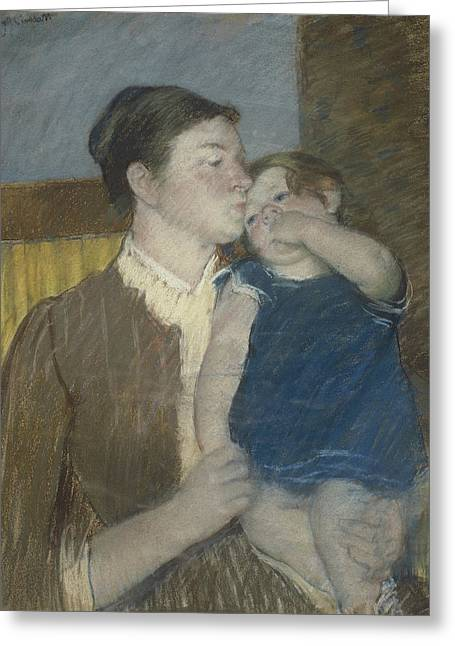 Young Mother Greeting Card by Mary Stevenson Cassatt