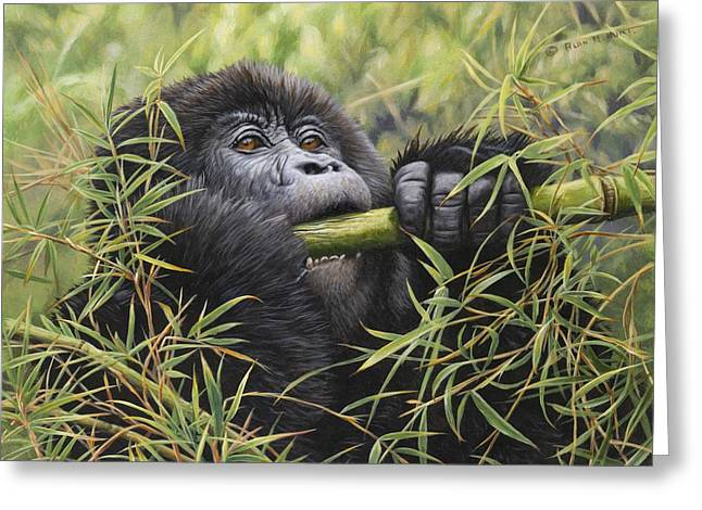 Greeting Card featuring the painting Young Mountain Gorilla by Alan M Hunt