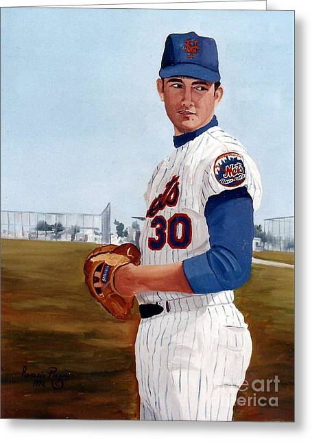 Young Nolan Ryan - With Mets Greeting Card by Rosario Piazza