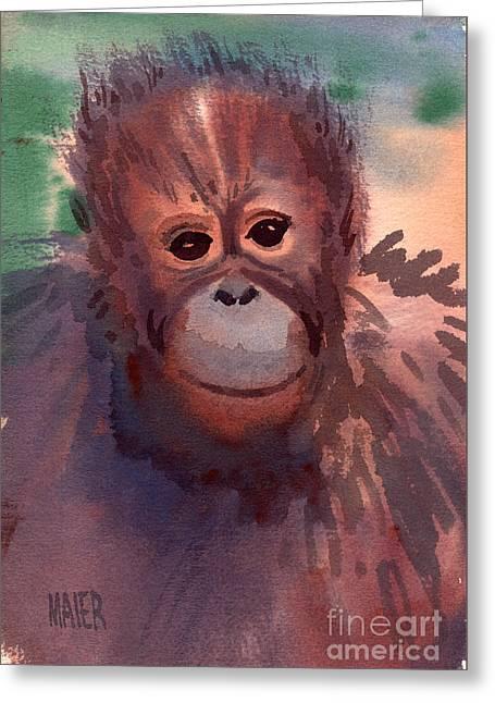 Young Orangutan Greeting Card by Donald Maier