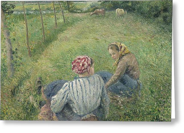 Young Peasant Girls Resting In The Fields Near Pontoise Greeting Card by Camille Pissarro