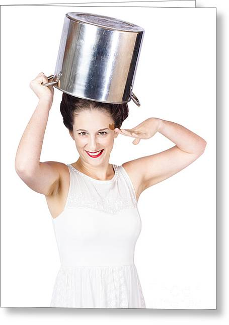 Young Pin Up Lady Reporting For Kitchen Duties Greeting Card by Jorgo Photography - Wall Art Gallery