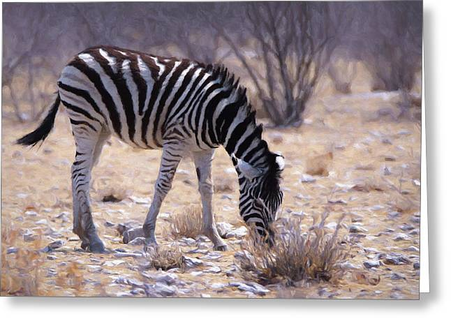 Greeting Card featuring the digital art Young Plains Zebra by Ernie Echols