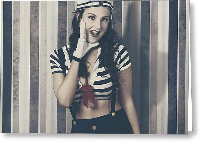 Young Retro Pinup Woman Shouting Maritime Surprise Greeting Card