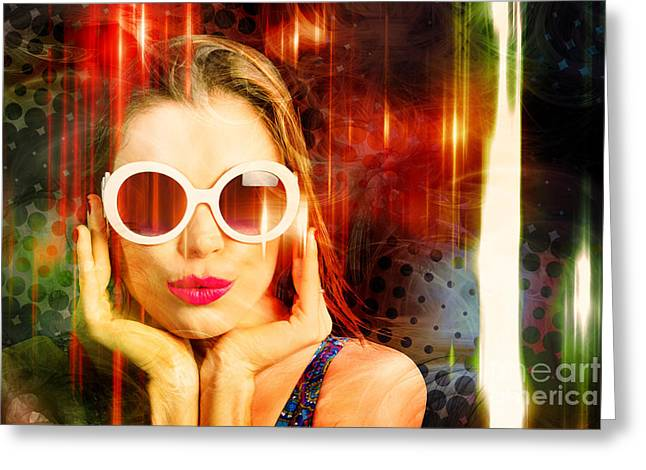 Young Retro Woman Listening To Earphones Greeting Card by Jorgo Photography - Wall Art Gallery