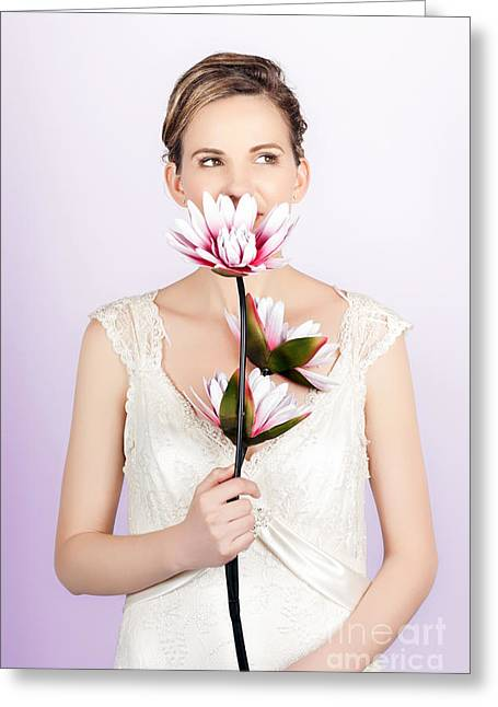 Young Romantic Woman With Lotus Flowers Greeting Card by Jorgo Photography - Wall Art Gallery