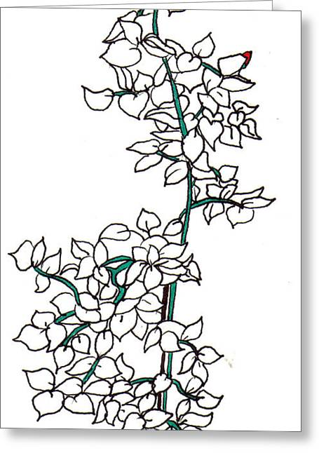 Young Rose Bush Greeting Card by Lynnette Jones