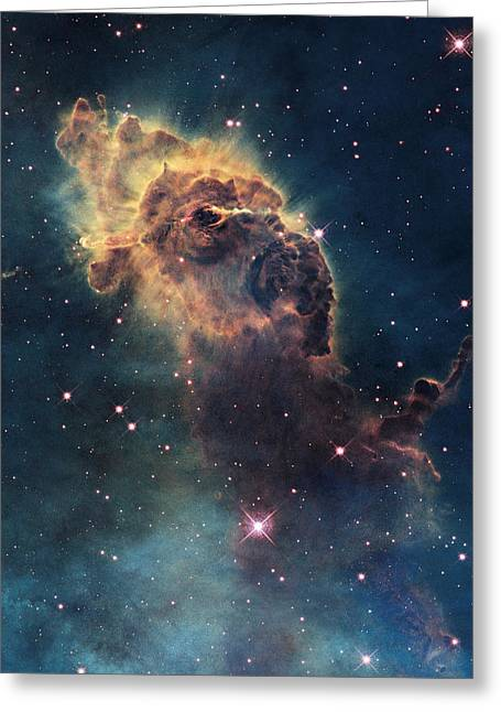 Mystery Photographs Greeting Cards - Young Stars Flare In The Carina Nebula Greeting Card by Nasa/Esa