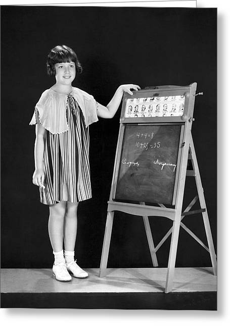 Young Student At Blackboard Greeting Card by Underwood Archives