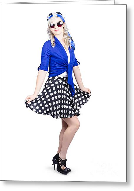 Young Stylish Caucasian Woman Posing For Photo Greeting Card by Jorgo Photography - Wall Art Gallery