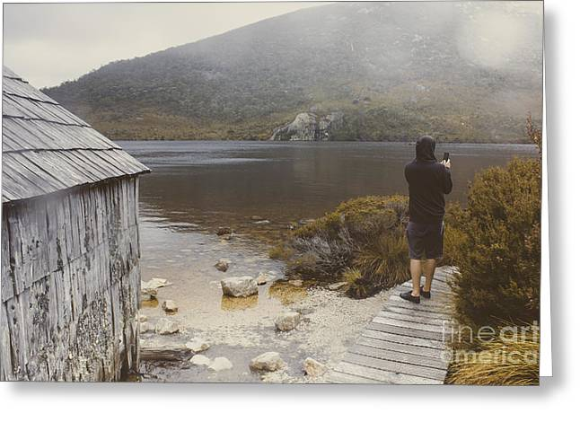 Young Tasmanian Hiking Tourist Taking Lake Photo Greeting Card by Jorgo Photography - Wall Art Gallery