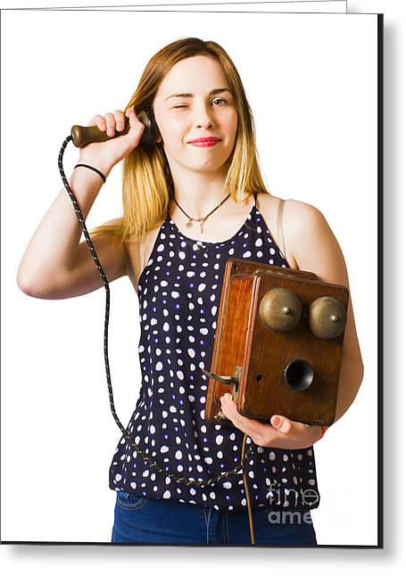 Greeting Card featuring the photograph Young Telephonist Phoning Using Old Vintage Phone by Jorgo Photography - Wall Art Gallery