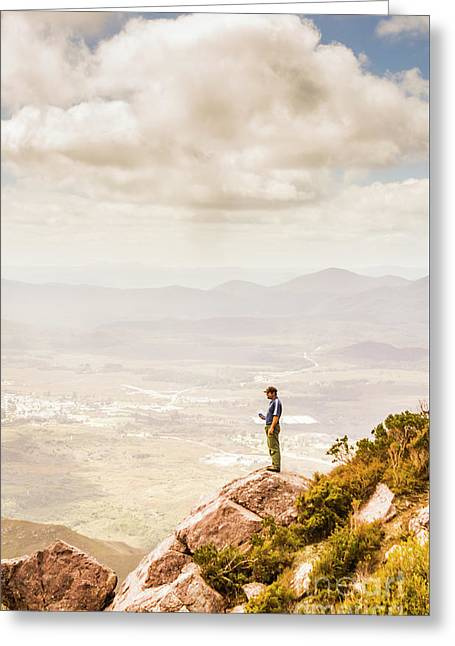 Young Traveler Looking At Mountain Landscape Greeting Card by Jorgo Photography - Wall Art Gallery