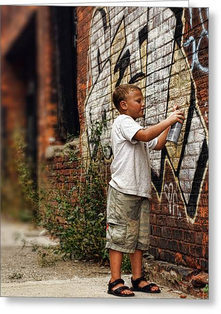 Young Vandal Greeting Card by Gordon Dean II