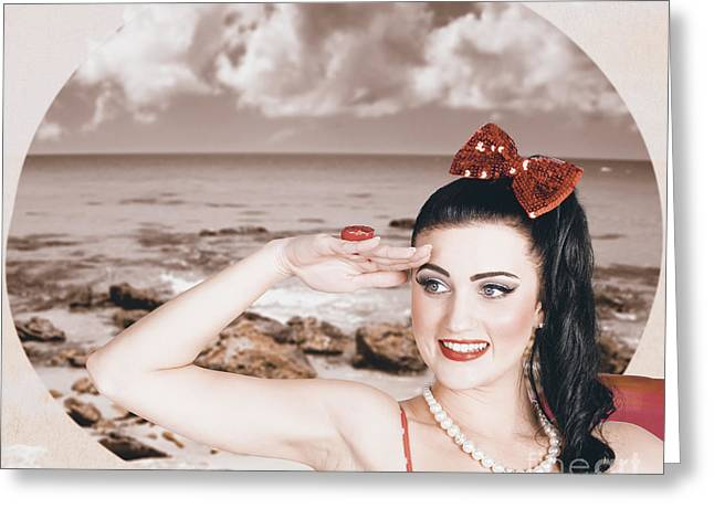 Young Vintage Styled Female Wearing Retro Swimwear Greeting Card