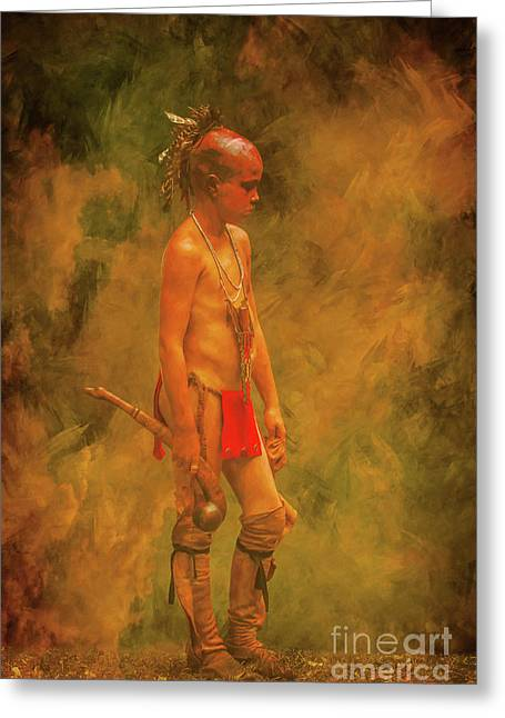 Young Warrior With Warclub Greeting Card