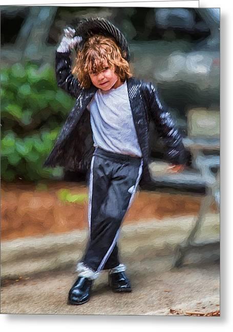 Young White Michael Jackson Busker Greeting Card by John Haldane