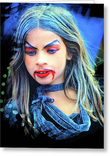 Young Witch With Bloody Lips Greeting Card