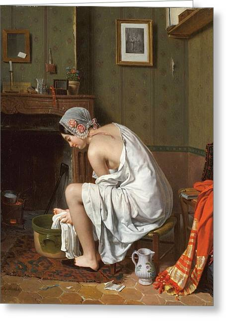Young Woman At Her Toilet Greeting Card