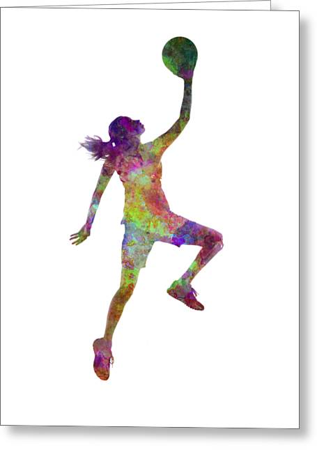 Young Woman Basketball Player 02 In Watercolor Greeting Card by Pablo Romero