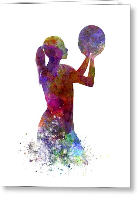 Young Woman Basketball Player 03 In Watercolor Greeting Card by Pablo Romero
