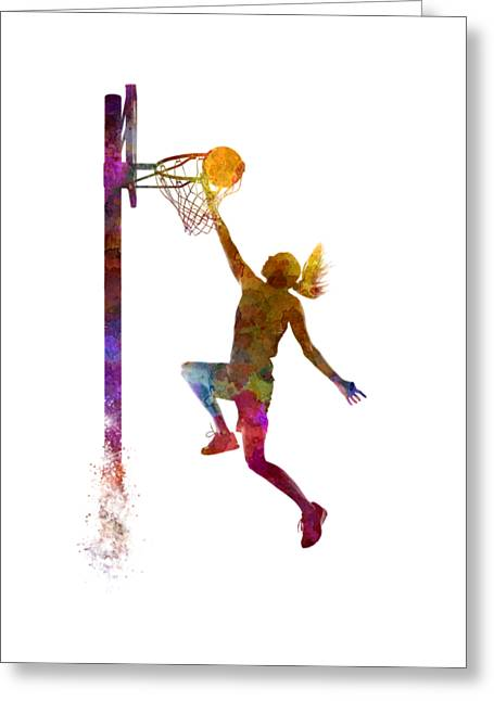 Young Woman Basketball Player 04 In Watercolor Greeting Card by Pablo Romero