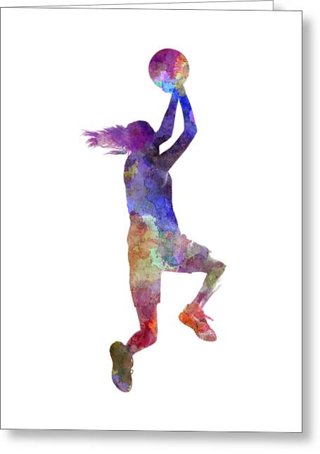 Young Woman Basketball Player 05 In Watercolor Greeting Card by Pablo Romero