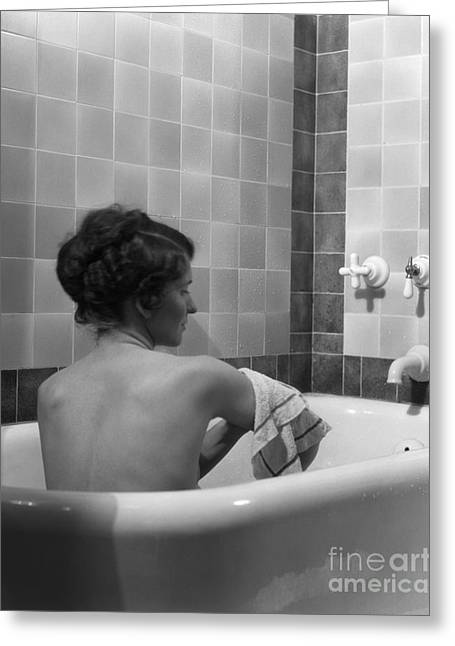 Young Woman Bathing, C.1920-30s Greeting Card by H. Armstrong Roberts/ClassicStock