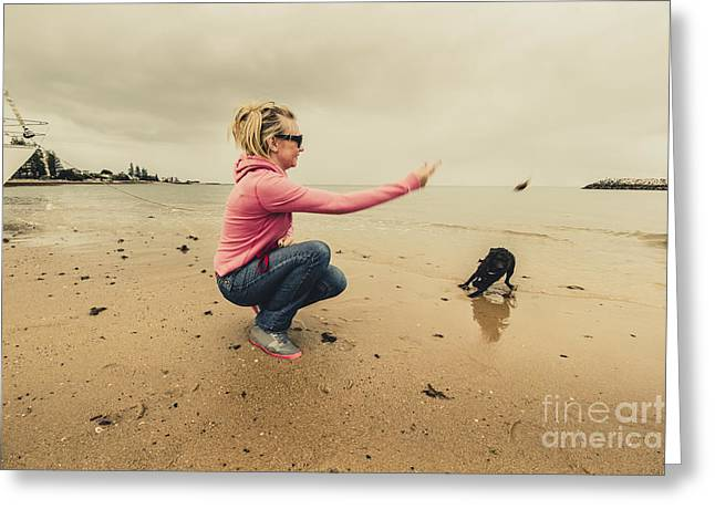 Young Woman Exercising Her Dog At The Beach Greeting Card by Jorgo Photography - Wall Art Gallery