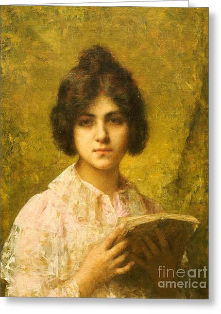Young Woman Holding A Book Greeting Card