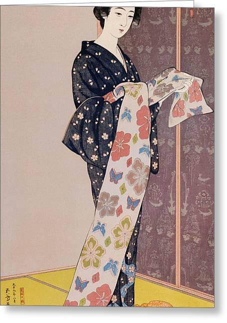 Young Woman In A Summer Kimono Greeting Card by Goyo Hashiguchi