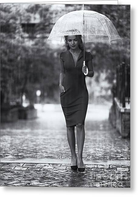 Young Woman In Elegant Dress With Umbrella Walking Thoughtfully  Greeting Card