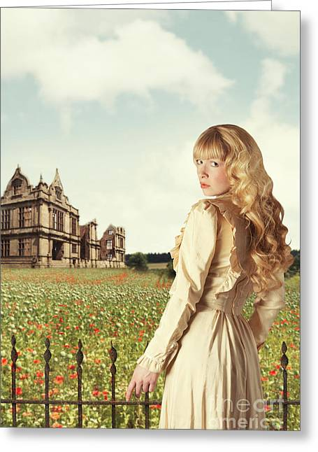Young Woman In English Countryside Greeting Card by Amanda Elwell